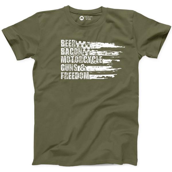Bira Bacon Motosiklet Tabancası Özgürlük T Shirt Patriot Amerikan Ülke Bayrağı Tee A14 Komik ücretsiz kargo Unisex Rahat Tshirt
