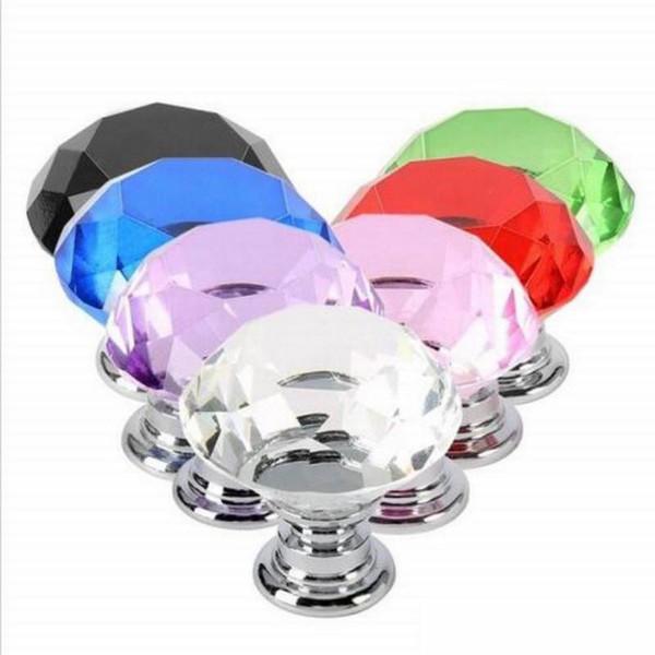 New Arrive 30mm Diamond Crystal Glass Door Knobs Drawer Cabinet Furniture Handle Knob Screw Furniture Accessories