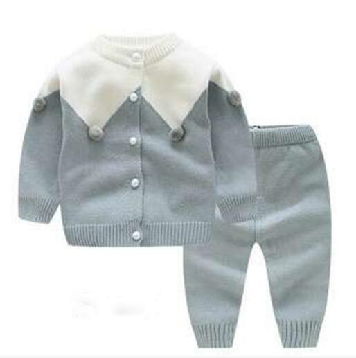 Boutique Boy Girl Knitted Two Piece Sets O-neck Knitted 100% cotton Long Sleeve Cardigan + Pants Baby Girl Spring Fall Clothing sets