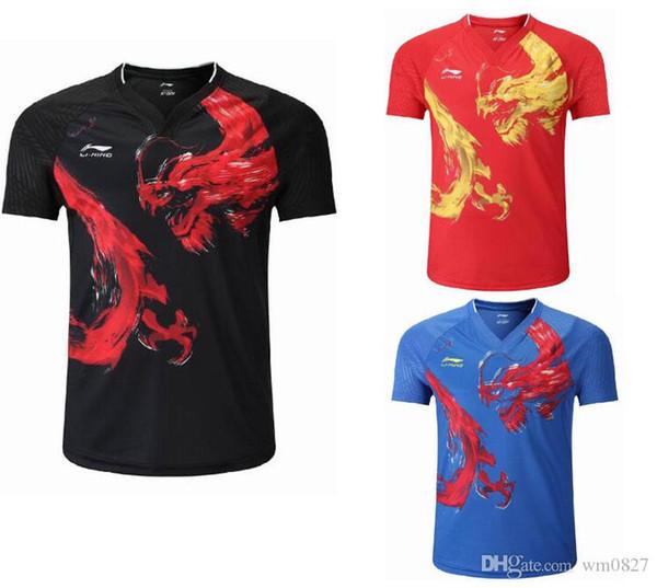 top popular Men women Li-Ning Table Tennis T-shirt National Team Competition Wear CP Player Edition Chinese Dragon Sports shorts, Badminton Tennis Shirt 2020