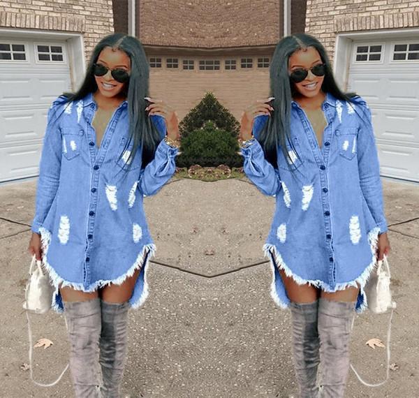 23c90b589b0edbc Весенние повседневные женские рваные джинсы мини-платье свободные с длинным  рукавом пуговицы рубашка платья отверстие