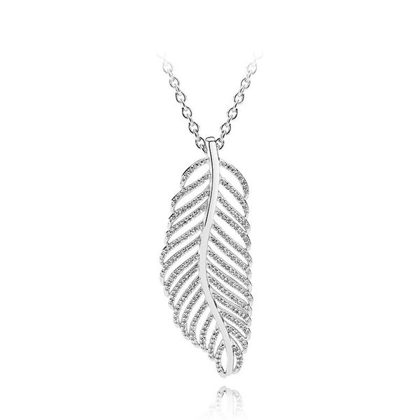 NEW 925 Sterling Silver Feather Pendant Chain Necklace Set Original Box for Pandora CZ Diamond Crystal Women Necklaces