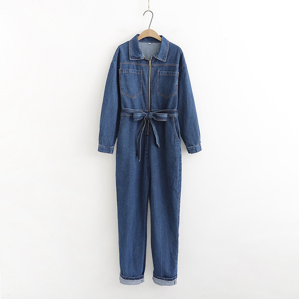 Spring Women Turn Down Collar Denim Jumpsuit Lace Up Fashion Loose Jeans Long Rompers Long Sleeve Bandage Overalls