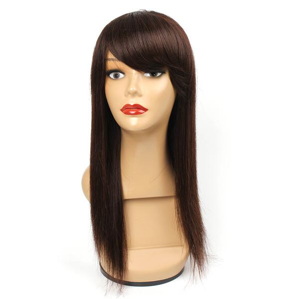 Бразильские прямые парики человеческих волос для чернокожих женщин # 4 шоколадно-коричневый 16 дюймов дешевые парики человеческих волос 100% парики человеческих волос Реми