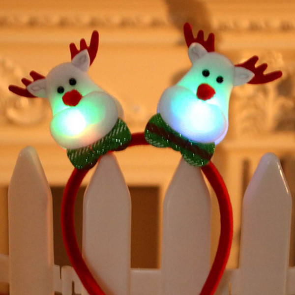LED Christmas Headband Adult Children Xmas Party Decorative Head Buckles Christmas Decorations for Home Decor Y30