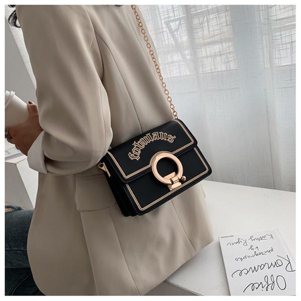 ПУ корейский Новый одно плечо сумка через плечо тенденция Письмо печати цепи дамы замок поймать небольшой квадратный мешок