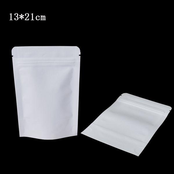 50pcs/lot 13*21cm White Mylar Foil Resealable Stand Up Packing Bag Doypack Kraft Paper Inside Aluminum Foil Zip Lock Food Storage Pouch