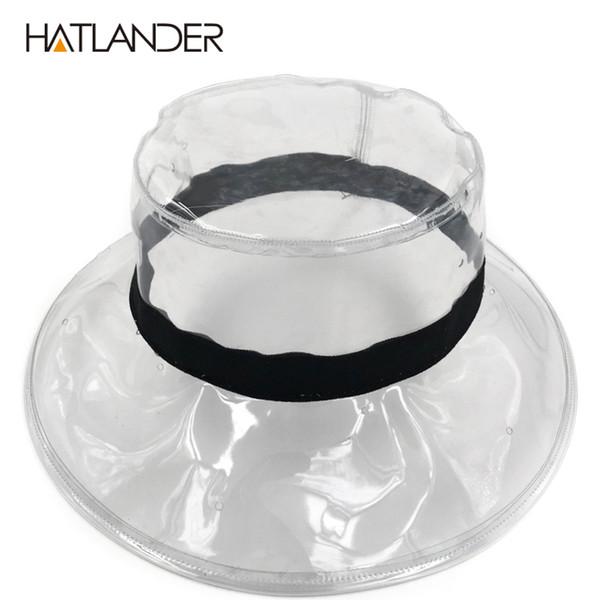 [HATLANDER] Mode transparente Sonnenblende Hüte für Frauen stilvolle PVC Eimer Hut weibliche Street Wear klare Strand Hut Mädchen zeigen Mütze