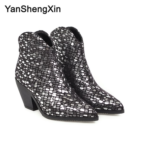 Wholesale Shoes Woman Boots Pattern Shiny Knight Ankle Boots High Heels Women Shoes Autumn Winter Boots Large Size Fashion Ladies Booties