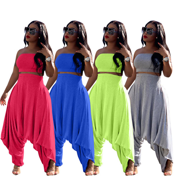top popular Women 2 piece pants plus size hip hop sexy summer sportswear t-shirt Harem Pants sweatsuit strapless crop top loose outfits bodysuits 1302 2019