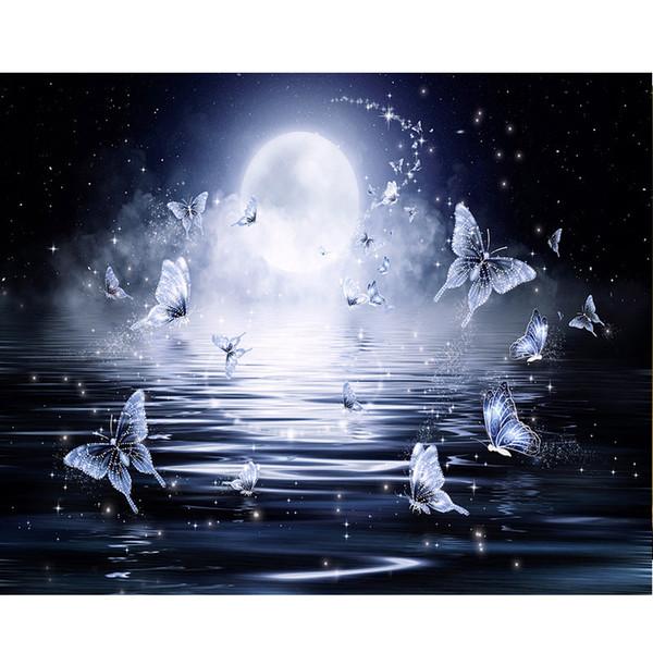 5d diy diamant malerei schmetterling bild diamant stickerei sea moon landschaft volle runde diamant mosaik decor ungerahmt pa157