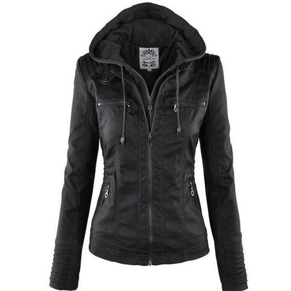 Roupa mulheres Blusão Faux Leather Jacket manga comprida Hat removível Básico impermeáveis à prova de vento de Mulheres Winter