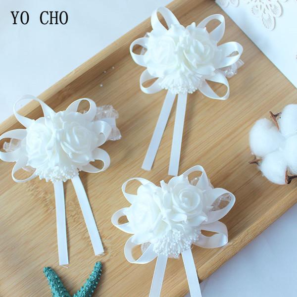 O CHO Foam Rose Wrist Corsage Bracelet Bridesmaid Sisters Hand Flowers White Wedding Accessories Party Decor Artificial Flowers YO CHO Fo...