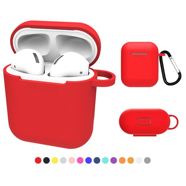 DHL For Apple AirPods Protective Shockproof Silicone Case Pouch + Carabiner With Anti-dust Plug For iPhone 7 Bluetooth Earphone