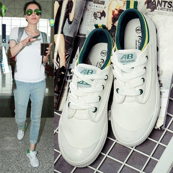 2019 Spring New Pattern Flat Bottom Canvas Shoe Leisure Time Chalaza Small White Shoes. Women Singles Shoe Student Han Banbai Board Shoes