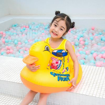 Duck Swim Ring Kids Floating Ring Animal Pools Air inflation toy Baby Summer Water Inflatable Tool