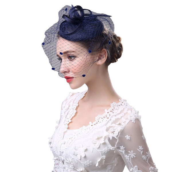 Black Bird Cage Net Wedding Bridal Fascinator Hats Face Veil Feather Tulle For Masquerade Party Prom Bridal Accessory CPA1923
