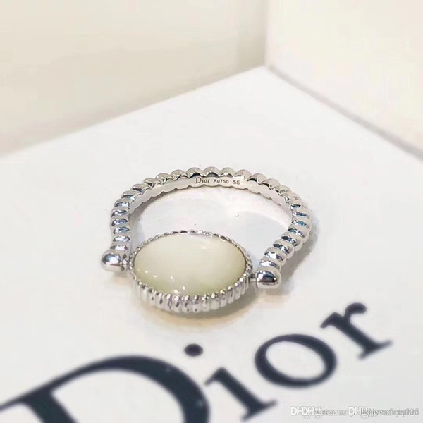 2018 new arrival S925 Sterling silver luxurious ring with nature stone decorate and stamp logo charm ring jewelry christmas day jewelry PS6