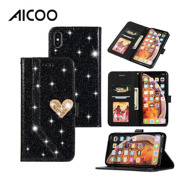 AICOO Bling TPU PU Wallet Case antichoc paillettes en cuir avec fente pour carte titulaire téléphone cas pour iPhone XS MAX XR Samsung Note8 Huawei P20 OPP
