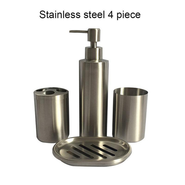 304 Stainless Steel Bathroom Set Bathroom 4 Piece Set Lotion Bottle Toothbrush Holder Wash Cup Soap Box Bathroom Supplies Y19061804