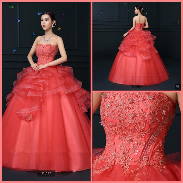 Vestido De Festa ball gown hot pink lace appliques prom dress ruffled beaded sequins princess puffy corset prom gowns hot sale