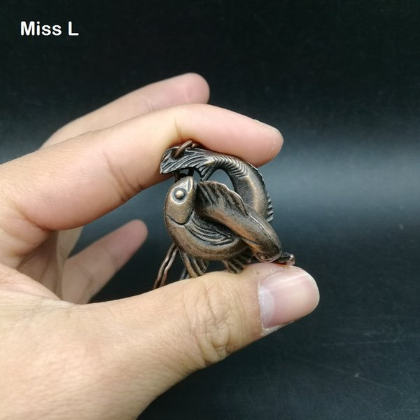 Collection Mini Fish Model Metal Cast Puzzle Brian Teaser Gadget Solution Intelligence Game Toys Decoration With Key Ring