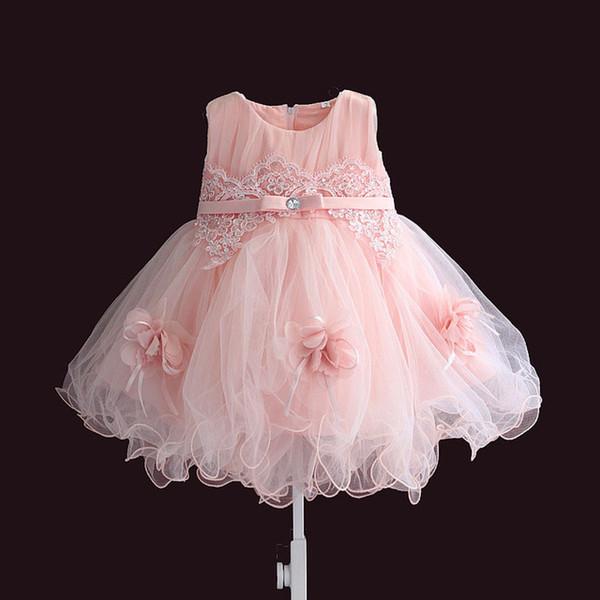 Baby Girl Princesa Bautismo Vestidos Bebé niña 1 año de fiesta de cumpleaños 2019 Moda encaje bautizo Ropa para niños pequeños