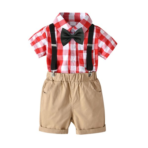 Toddler Boys Clothes Set Red&White Plaid Shirt With Bow + Shorts + Belt Children'S 4pcs Suit For 2-7 years Children Coutume