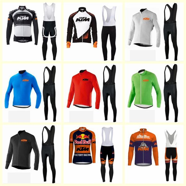 KTM team Cycling long Sleeves jersey bib pants sets Mens Bike Clothing tops High Quality sports Riding clothes U81010
