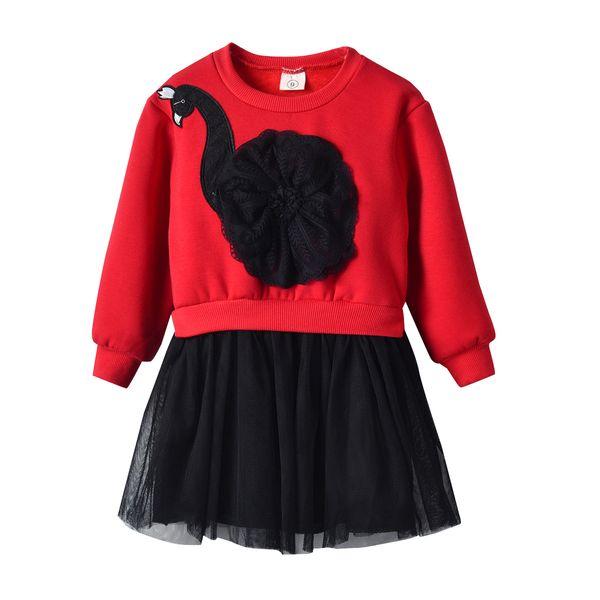 2019 new foreign velvet skirt girl Korean version princess dress New Year red dress