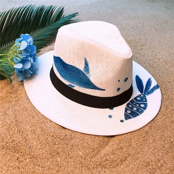 Summer Straw Sun Hat For Women Wide Brim Beach Panama Hat With Hand-Painted Blue Fish Sunbonnet Cap Size 58CM