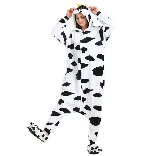 2019 Flannel Potty Extra Thick Animal Dairy Cow Onesies Conjoined Pajamas for Both Spring and Winter Coral Lovers Sleepwear