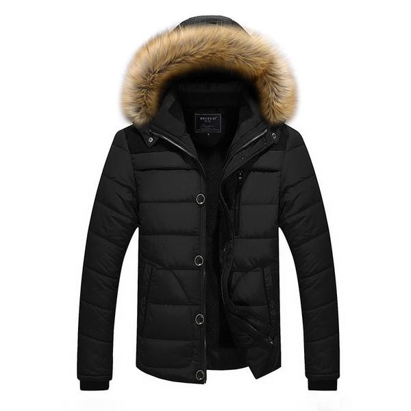 Herren Parkas Size Mäntel Kapuzenpelz Dick Schwarz Daunenjacke Jacken Fashion Großhandel Men Warme Berühmte Outdoor Kunstpelz Plus Inner Marke Winter qjLSzVpGUM