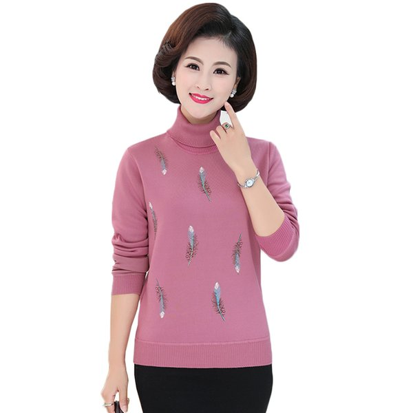 Women Turtleneck Sweater Pullover Middle-aged Mother Clothes Thicken Plus Velvet Warm Winter Sweater Jumper Casual Female Tops