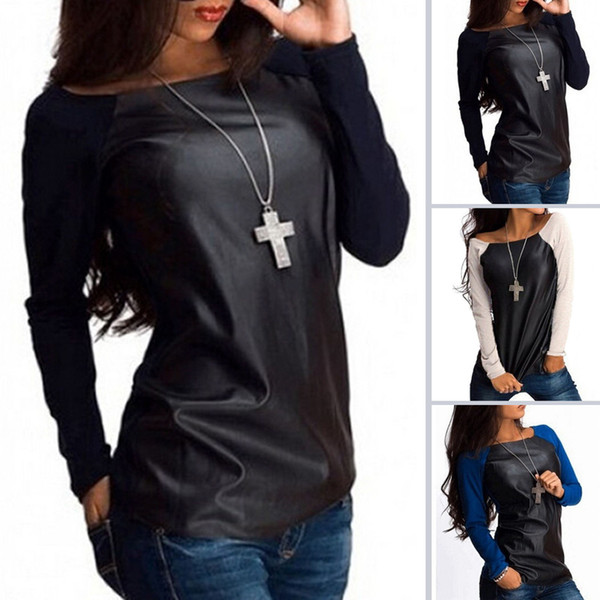 Manteau New Womens Sexy Scoop Neck Jumper Manches Longues Vêtements Femmes Hauts En Cuir Casual Baseball Tee Blouse Chemises Outwear