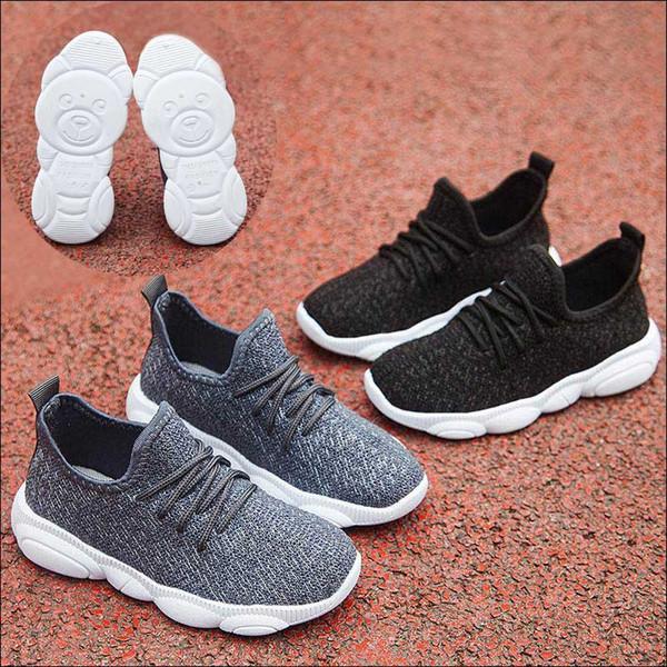 Acquista I Bambini Sneakers Autunno 2019 Nuovi Capretti Casual Shoes Ragazzi Scarpe Traspiranti Sportive Nero Piccolo Di Disegno Dell'orso Del Marchio