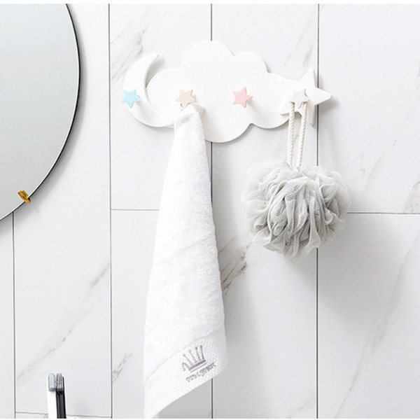 Домашние настенные крючки Декоративная ванная комната Без следов Сильный крюк Настенная дверная вешалка Fantasy Star Month Cloud Самоклеящийся крюк