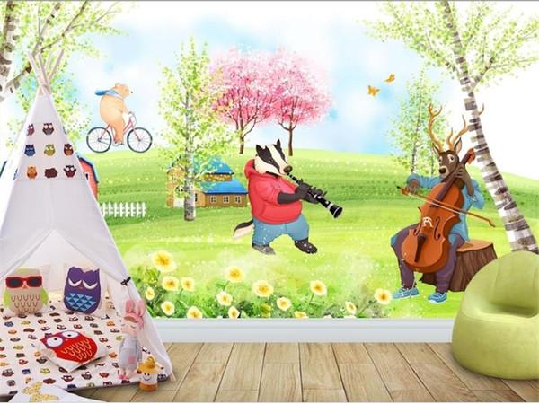 Custom Size 3d Photo Wallpaper Mural Hand Painted Animal Spring Picture Kids Room Sofa Tv Backdrop Mural Home Decor Creative Hotel Wallpaper Desktop