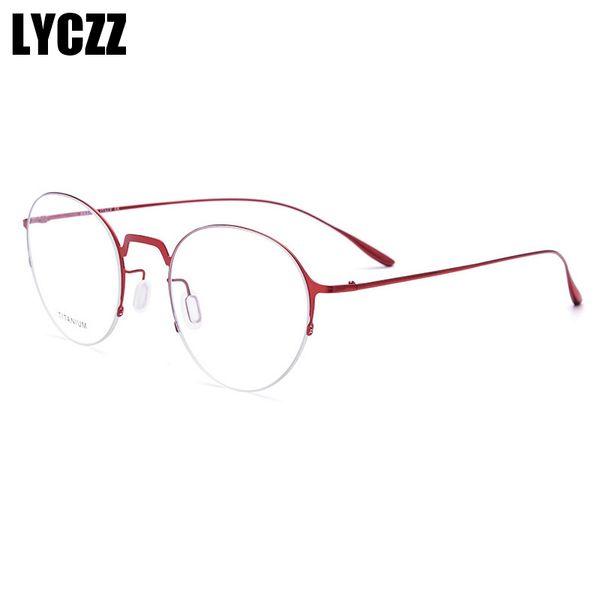 LYCZZ Red Fashion Style mince Lunettes Cadre Femmes Hommes alliage titane Lunettes Vintage Métal optique Cadre étudiant lentille claire