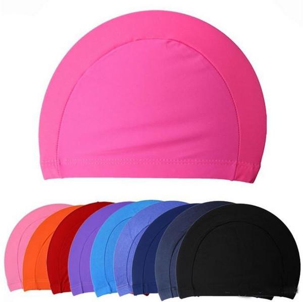 200pcs Tamanho livre Tecido Ears proteger o cabelo longo Sports Siwm Piscina Cap Hat Adultos Homens Mulheres Sporty ultrafinos Adulto banho Caps