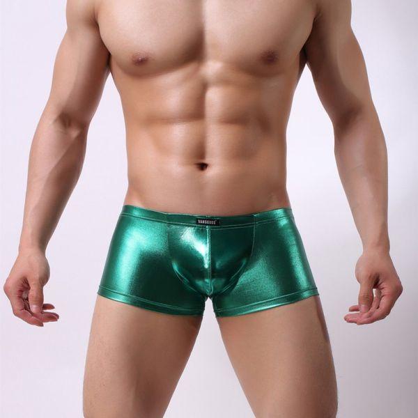 Sexy Lingerie Dos Homens Sexy Boxer Shorts de Couro Pu Cueca gay calcinha underwear masculina de marca homme sleepwear men