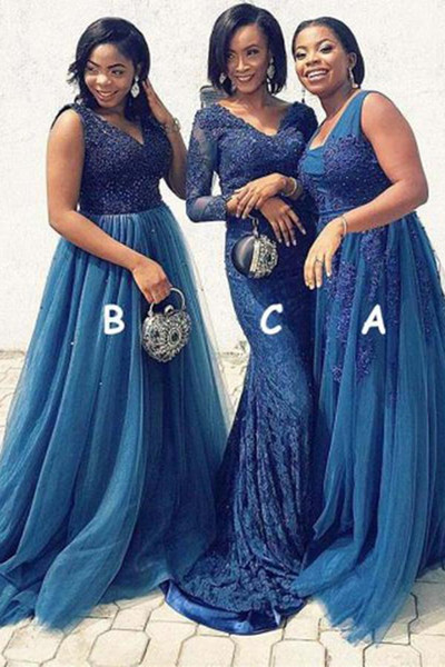 Sexy African Dark Blue V neck Bridesmaids Dresses A line Country Lace Applique V neck Lace Three Style Cheap Wedding Party Formal Gowns