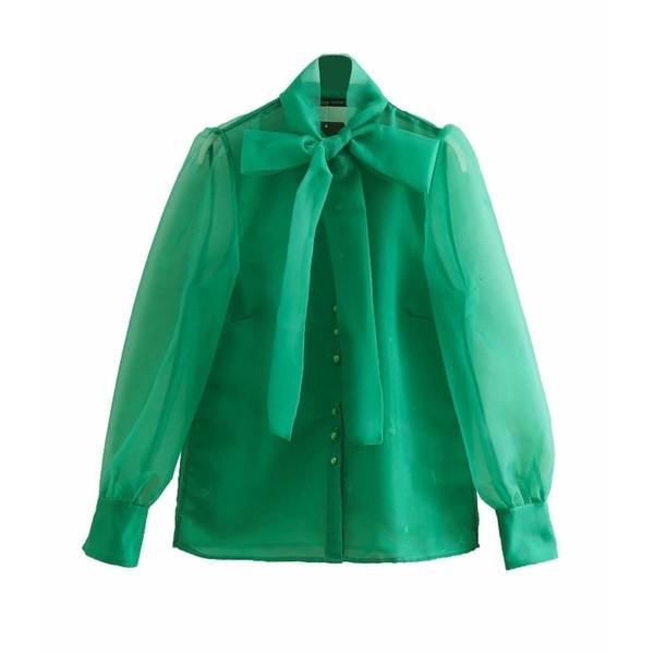 Camicetta da donna High Street Bow Colletto trasparente Organza Camicia camicetta verde Camicette Donna Manica lunga Bottoni Blusas Top chemise Ls3233 Y190427