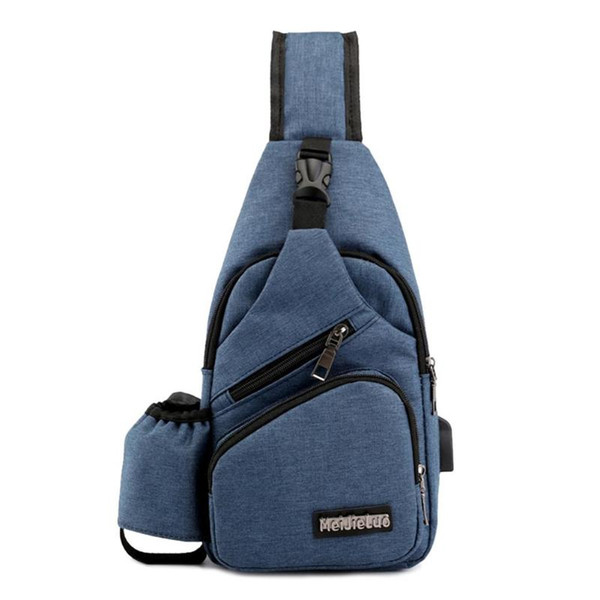 Hommes Oxford Sacs à bandoulière poitrine USB Solide Couleur de charge Messenger épaule Packs Casual tasse Bag Phone Pouch argent