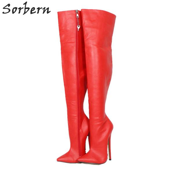 Rouge mat fermeture à glissière verrouillable sur les bottes au genou pour les femmes 18 cm stilettos mi cuisse haute dame botte bout pointu personnalisé
