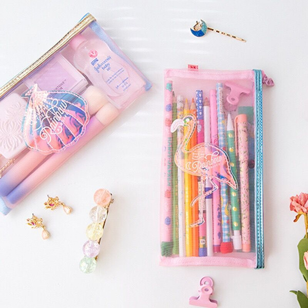Flamingo Shell Net filato Coin Purse Make up Custodia Bentoy Milkjoy Girls Student Sacchetto della matita Corea Japan Coin Purse Women Cosmetic