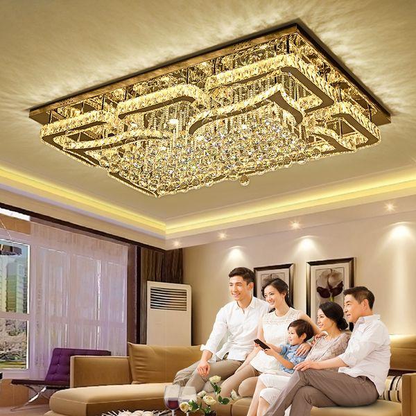 Modern LED Kolye ışık kare K9 kristal avize tavan salon ışıkları kapalı aydınlatma asılı lamba avize ışıkları