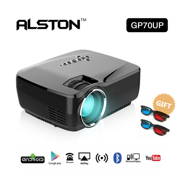 ALSTON Mini Portable LED Projector GP70/GP70UP (Optional Android Bluetooth WiFi) 1200Lumens HDMI Support Full HD 1080P Video Multimedia