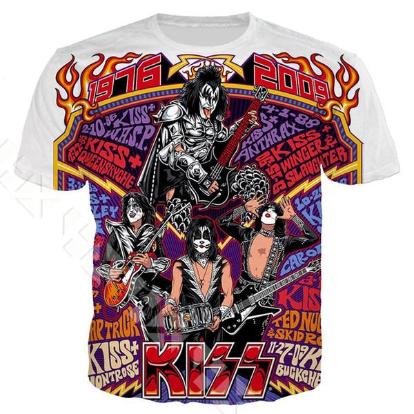 New Fashion Women/Men Metal Rock Kiss Band Summer Short Sleeves Funny 3D Print T-shirt Casual Top K110