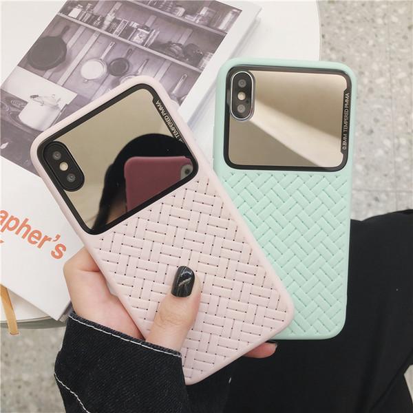 Espelho celular casos para o iPhone XS XR MAX 6 7 8 Plus TPU tudo incluído Anti-queda Telefone DHL